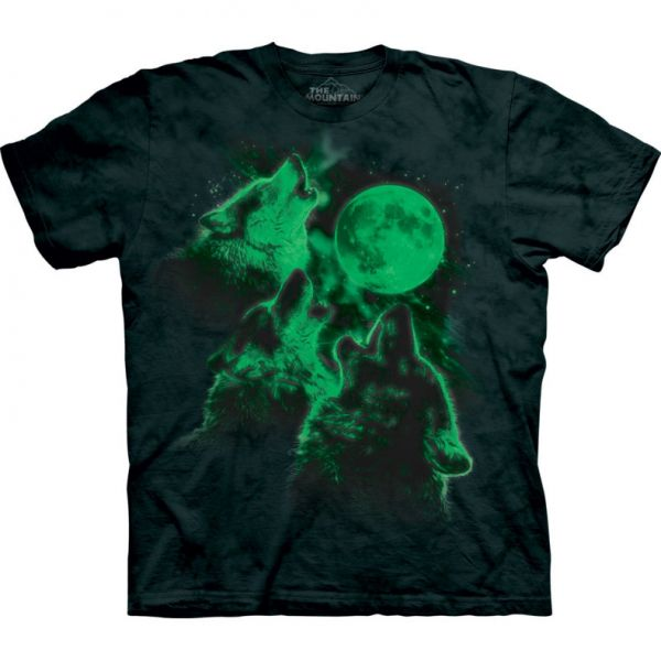 "The Mountain T-Shirt """"Three Wolf Moon glow"""