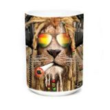 "Kaffeehäferl / Teehäferl ""Lion - smokin Jahman"" (The Mountain Keramiktasse) 400 ml weiß"